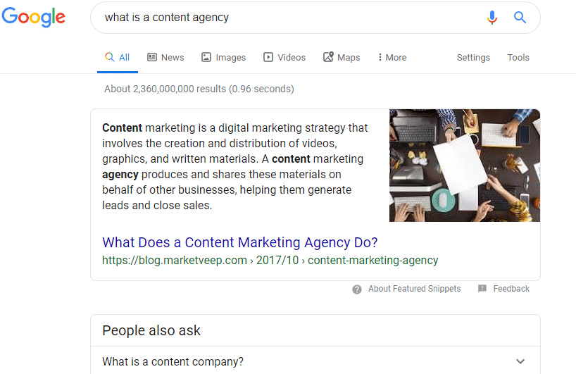 An example of informational intent in a Google search