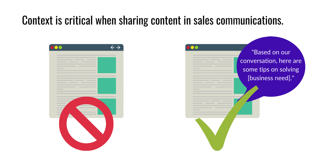 Context is critical - leverage content in sales communications